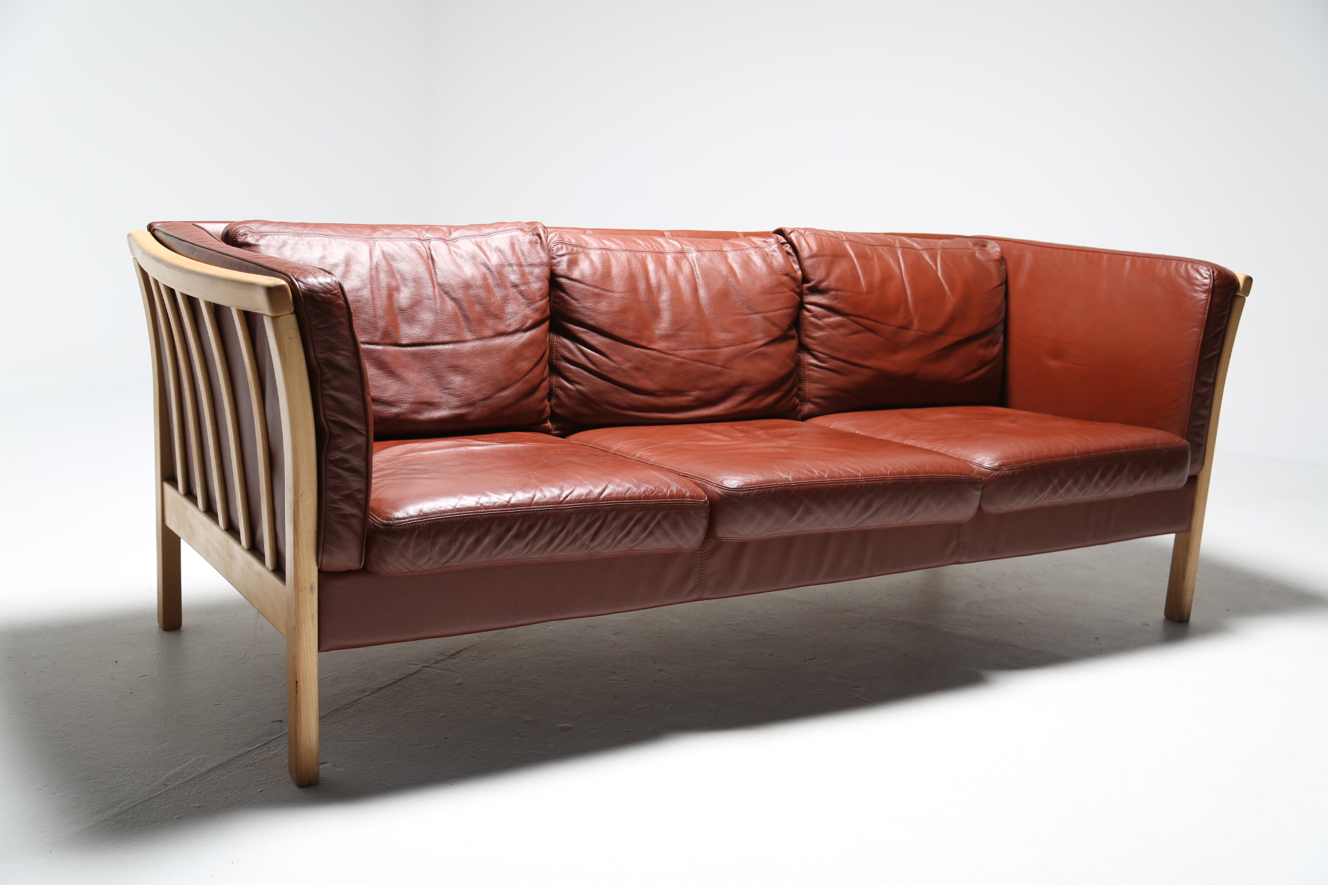 Vintage Danish Leather 3 Seat Sofa By Stouby The Vintage Hub