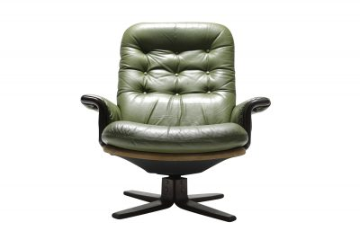 Georg Thams green leather & stained beech swivel 001.jpeg