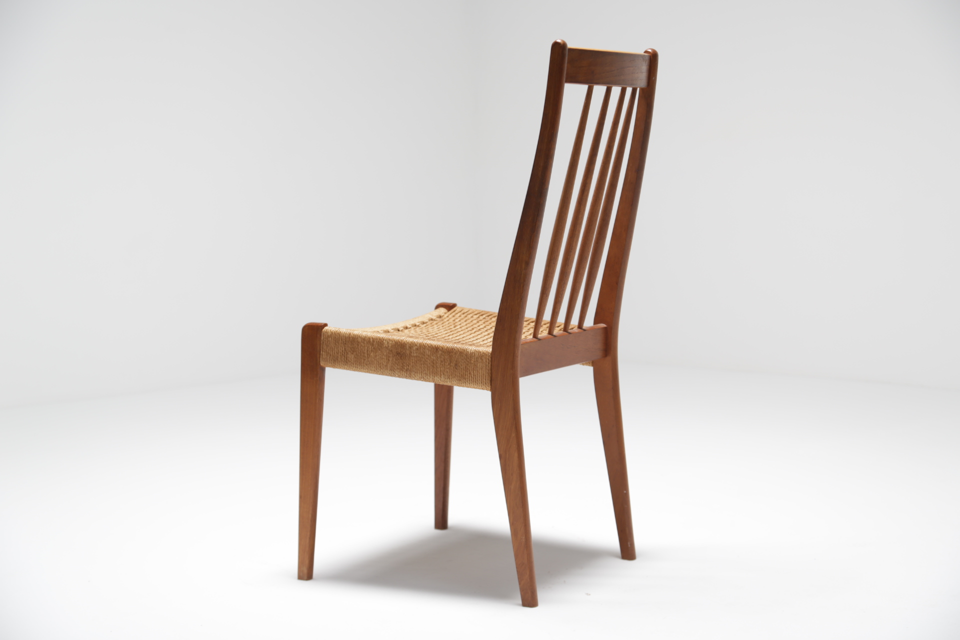 Danish Teak Papercord Dining Chairs The Vintage Hub