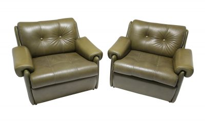 Pair of Buttoned Green Leather Armchairs