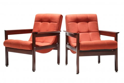 Pair of Teak Buttoned Scoop Chairs