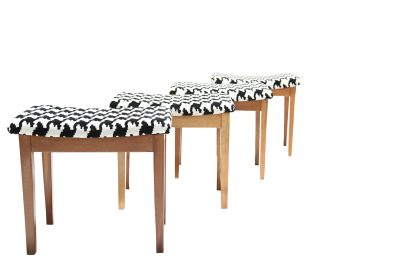 vintage retro stools in monochrome fabric vintage furniture Dublin cafe bar stools
