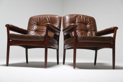 Pair of Carmen chairs by Gote mobler brown vintage furniture Ireland