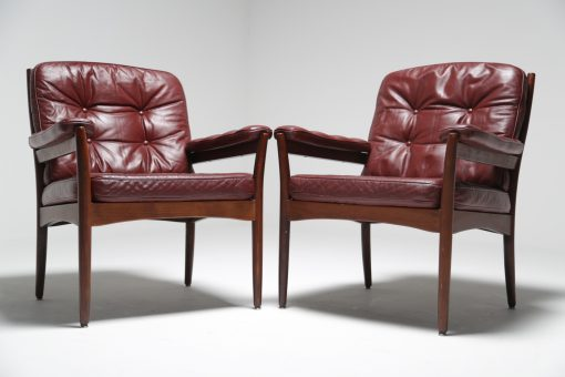 Burgundy Carmen chairs by Gote mobler vintage furniture Dublin