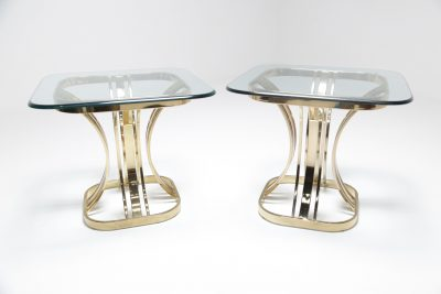 Sculptural Brass & Glass side tables