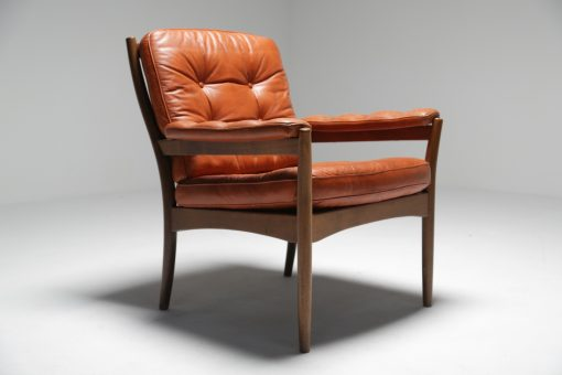 Tan Rosewood & Leather Armchair Gote Mobler Sweden
