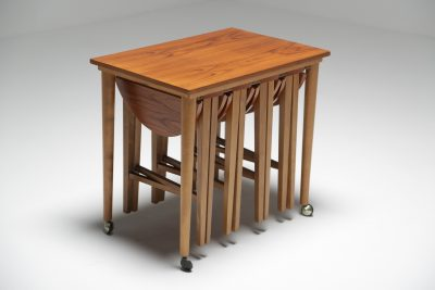 Teak Quartetto nesting tables on castors