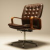 Vintage Deep Buttoned Leather Swivel Chair vintage leather swivel chair Dublin Ireland