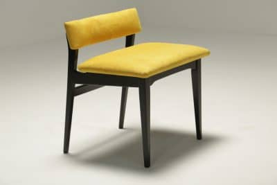 Ebonised Vanity Stool in Yellow Alcantara the vintage hub