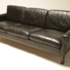 Danish Black Leather 3 Seat Sofa mid-century sofa