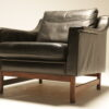 Danish Leather Armchair with Rosewood Legs retro lounge chair