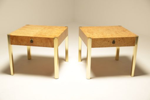 Burlwood & Brass Side Tables by Century Furniture USA