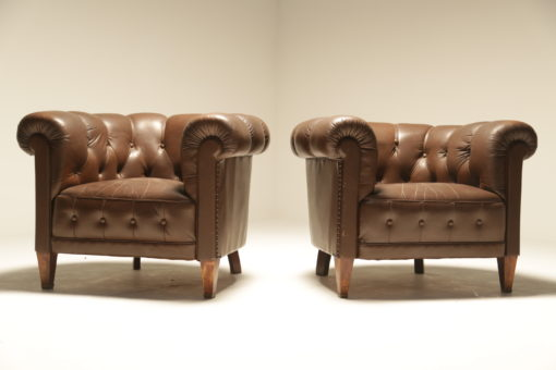 Buttoned Chesterfield Style Armchairs in Brown Leather the vintage hub