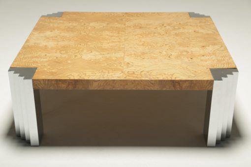 Burl and Chrome Skyscraper Coffee Table