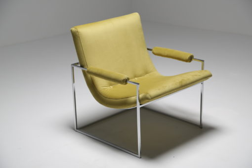 Milo Baughman Chrome and Velvet Scoop Chair